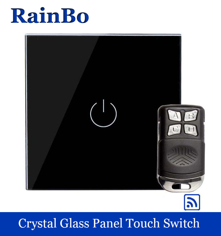 rainbo Crystal Glass Panel Switch Wall Switch EU Touch Switch Screen Wall Light Switch 1gang1way 110~250V LED lamp A1913BR01 2017 smart home crystal glass panel wall switch wireless remote light switch us 1 gang wall light touch switch with controller