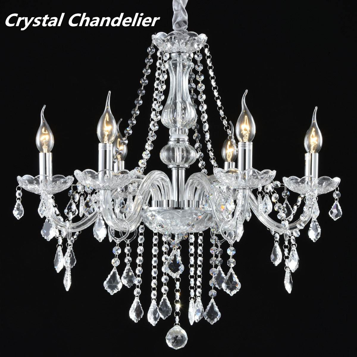 Modern Crystal Glass Pendant Lights Hanging Lamp Fixture 6 Arms Living Room Bedroom Indoor Lighting Home Decor furnishings brief modern k9 crystal flower pendant light fixture european fashion home deco living room diy glass pendant lamp