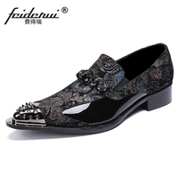 Luxury Pointed Toe Slip on Man Rhinestone Runway Loafers British Designer Patent Leather Wedding Party Men's Banquet Shoes SL359