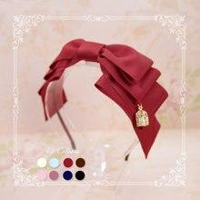 Ngọt Nhiều Lớp Bow Lolita Hairband Ribbon Mũ Sắt Với Lồng Pendant bởi SweetDreamer