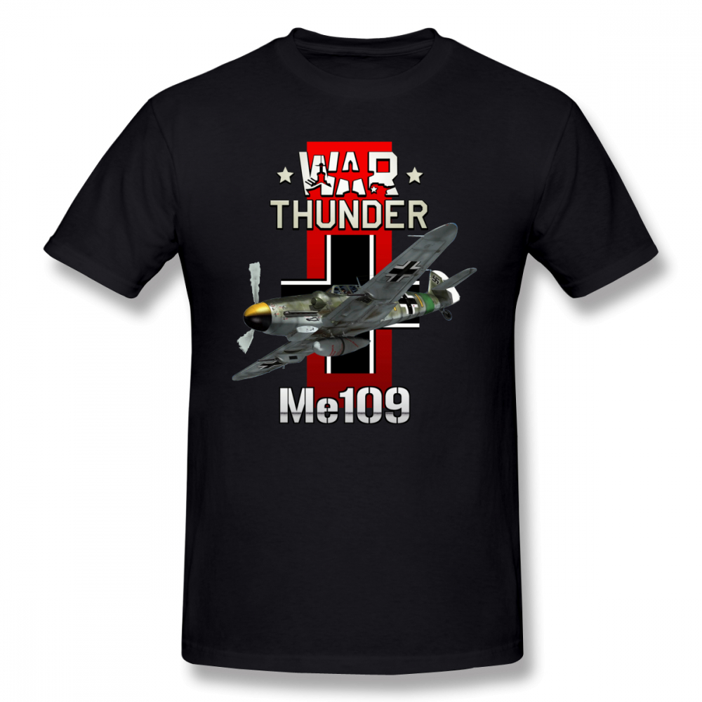 Luftwaffe   T     Shirt   War Thunder Me109   T  -  Shirt   Plus size Basic Tee   Shirt   Funny Man 100 Cotton Short-Sleeve Graphic Tshirt