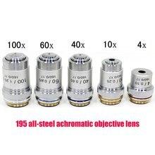 цена 4X 10X 40X 100X Plan Infinity Achromatic Professional Objective Lens 195 Microscope Objective Lens Accessories
