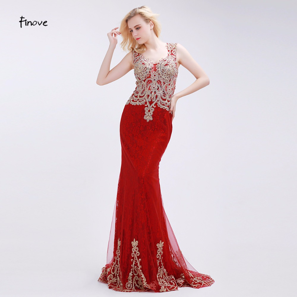 Finove red sirena vestidos de noche con rebordear apliques de moda del collar de