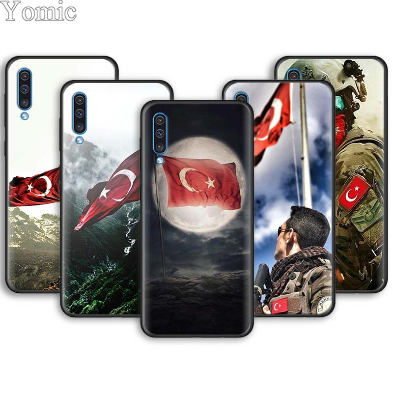 Turkey <font><b>Flag</b></font> Soldier Wolf Soft Phone Cases for <font><b>Samsung</b></font> Galaxy A6 A7 A8 Plus A9 <font><b>A10</b></font> A20 A30 A40 A50 A70 M30 M20 Black Case Cover image