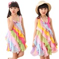 iEFiEL Kids Girls Sweet Candy Rainbow Princess Party Pageant Summer Holiday Beach Swimming Costume Dress Mesh Casual Sundress