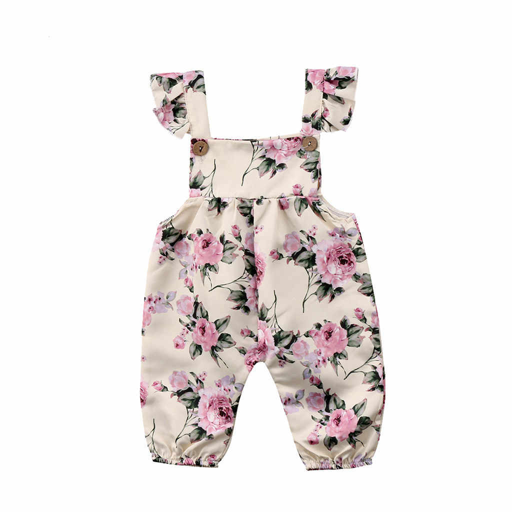 New Style Flower Newborn Infant Baby Girl Floral Strap Jumpsuit Pants Clothes  Outfit Drop Shipping   1a0377c4473e