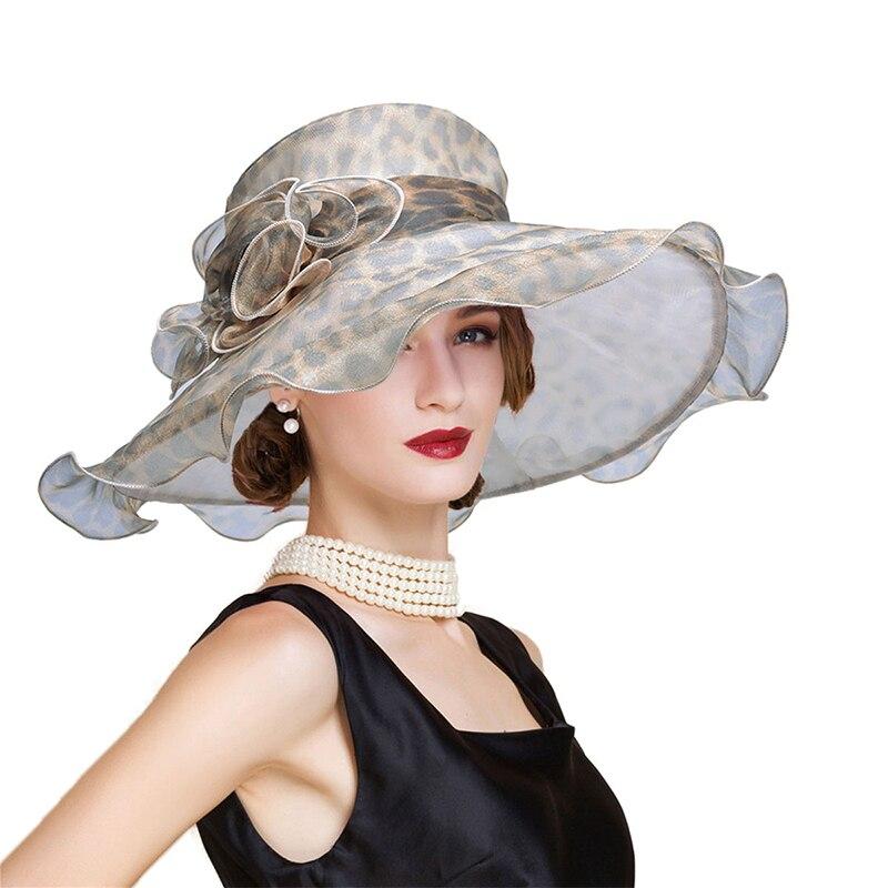 Women Sun Hats Wide Brim Formal Ladies Summer Hats Floral Leopard Ladies Floppy Hat Women Dress Tea Party Charch Hats T234