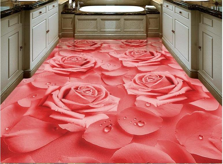 HD warm wallpaper 3d flooring Rose flower wallpapers for living room 3d floor tiles photo wallpaper self adhesive wallpaper -in Wallpapers from Home ...