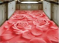 HD warm wallpaper 3d flooring Rose flower wallpapers for living room 3d floor tiles photo wallpaper self adhesive wallpaper