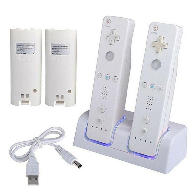 Para Nintendo Doca de Carregamento Station Carregador Gamepad Com 2x2800 mAh Da Bateria Luz LED Duplo Carregamento Suporte Para Wii carga Gamepad
