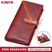 57b6eac7acb88 KAVIS Ücretsiz Gravür Hakiki Deri Kadın Cüzdan bozuk para cüzdanı Kadın  Portomonee Lady Uzun Handy kart tutucu Debriyaj Hediye i.