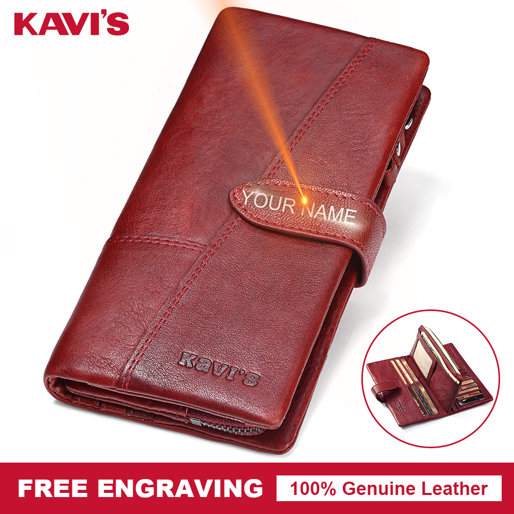 KAVIS Genuine Leather Women Wallet Purse Coin Female Portomonee Walet Lady Long Handy Money Card Holder Clutch Gift for Girls зонты для колясок altabebe солнцезащитный al7000