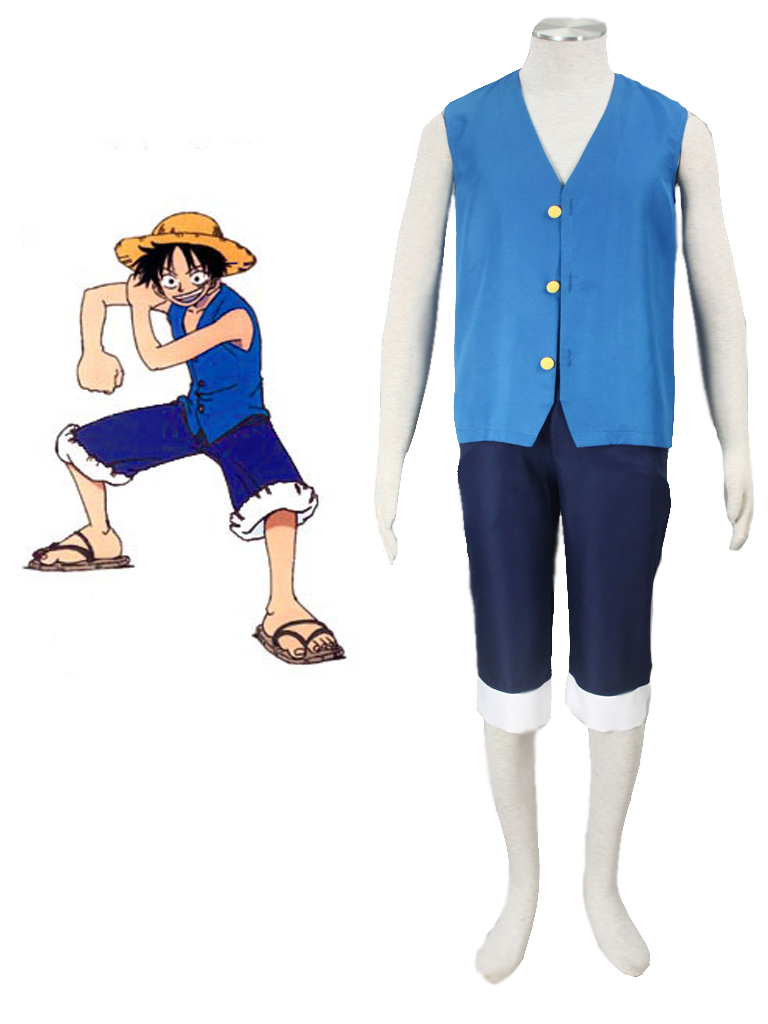 Free Shipping One Piece Monkey.D.Luffy Blue Anime Cosplay Costume