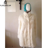 FURSARCAR New Mink Fur Coat Fashion Women Luxury Jacket With Fur Collar Winter Long Natural Mink White Full Sleeve