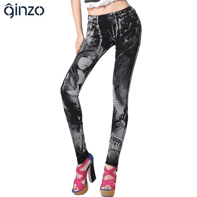 Imprimir calças de brim das mulheres strass sexy beleza padrão pintado denim longas calças slim calças skinny calças lápis