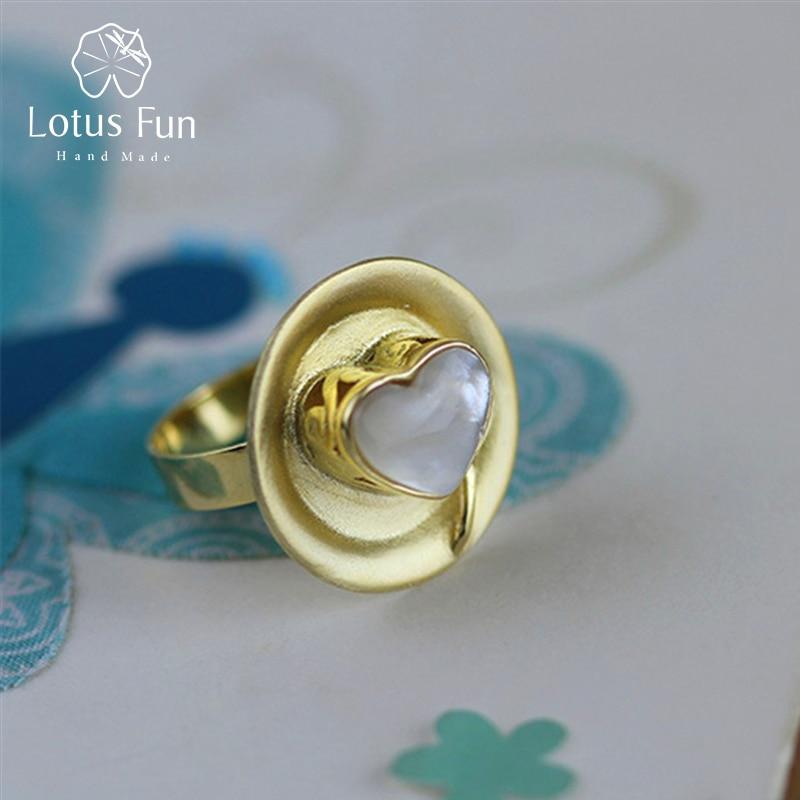 Lotus Plaisir Réel 925 Sterling Argent Naturel À La Main Amour Coeur Gâteau & Cuillère Designer bijoux fins Après-Midi Rencontres Femme Anneaux
