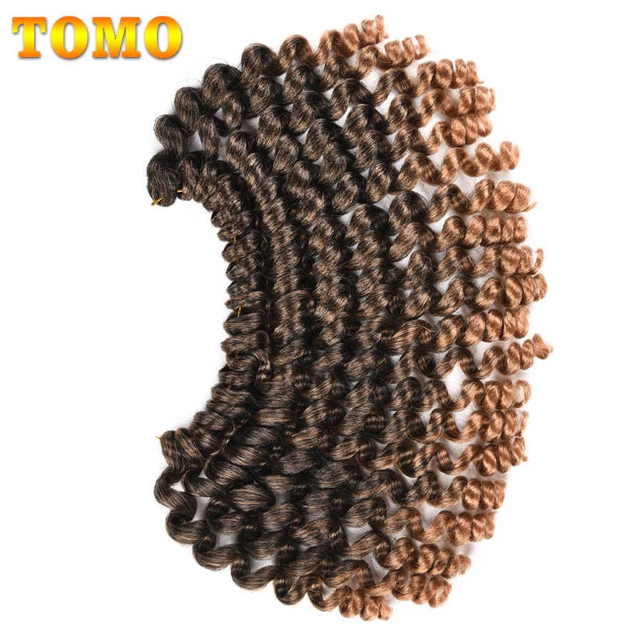 TOMO, 20 корней, вязанные крючком косички, ямайский прыжок, закрученные, плетенные волосы, 8 дюймов, пряди для волос, синтетическая палочка, кудри для черных женщин