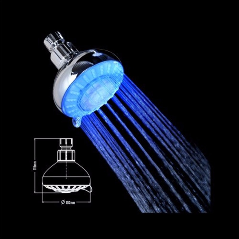 4 Inch Single Function Double Head LED Handheld Shower And LED Showerhead  Shower System, Chrome Plated Finish