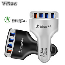 4 USB Quick Charger 3.0 Car Adapter 7A QC3.0 Turbo Fast Charging Mobile Phone for iPhone Xiaomi