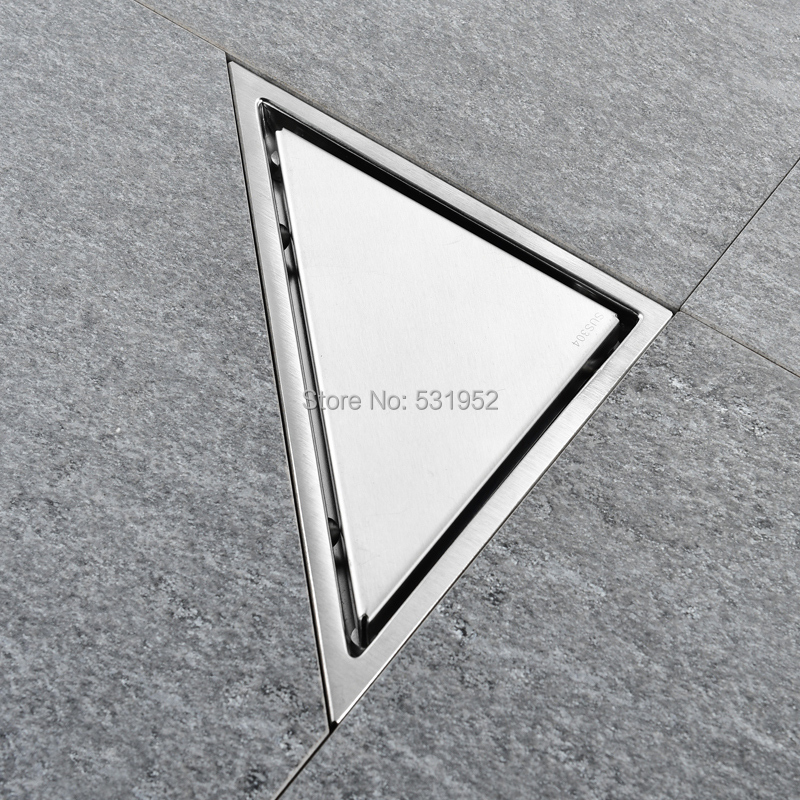 Image 3 - Triangle Invisible Floor Drain Balcony Bathroom Corner Floor Drain Deodorant Hidden Type Tile Insert Shower Drain Fast Drainage-in Drains from Home Improvement