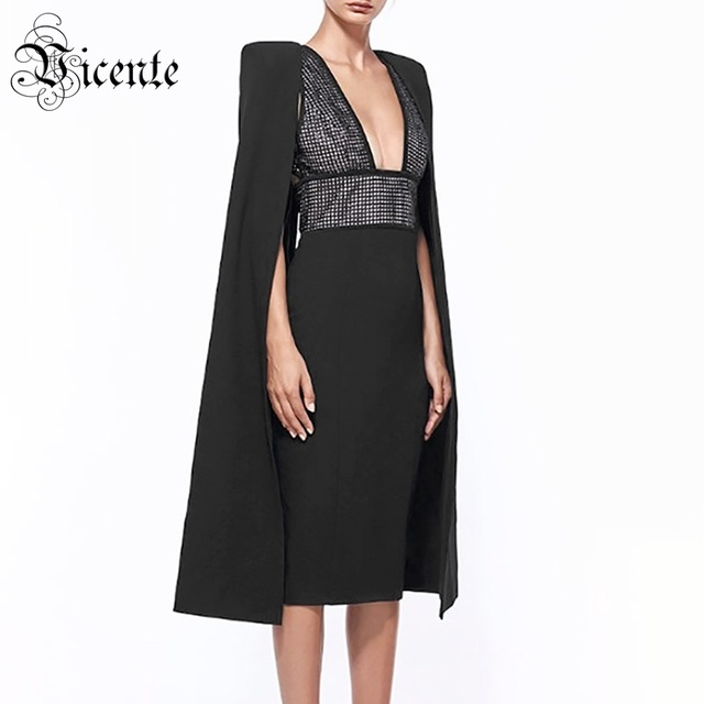 Vicente HOT 2019 New Chic Elegant Rivet Embellished Sexy V-neck Cloak  Sleeves Design Wholesale Celebrity Party Wear Midi Dress 7d7806b48