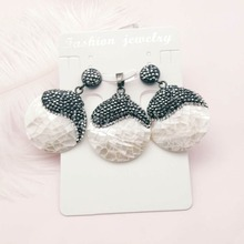 2019 fashion earrings shell style earring hollow design ladies jewelry set earrings necklace wholesale cosstore unique brief art style glass bubble necklace and earrings set modern wedding necklace hollow beads earrings for women