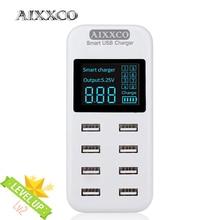 AIXXCO חכם 8A USB מטען עם LCD תצוגה עם 8 יציאות usb כוח עבור iphone סמסונג טלפון נייד