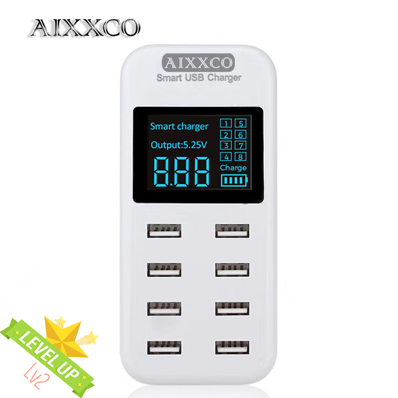 AIXXCO Smart 8A USB charger with LCD Display with 8 usb power ports for iphone samsung Mobile phone|usb charger|charger charger|charger with usb - title=