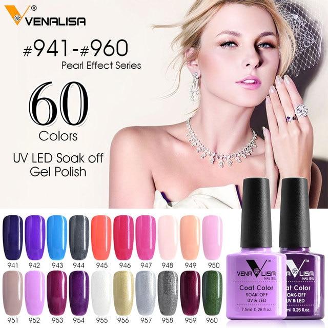 #61508 2018 new 60 fashion color Venalisa gel polish vernish color gel polish for nail art design whole set nail gel learner kit