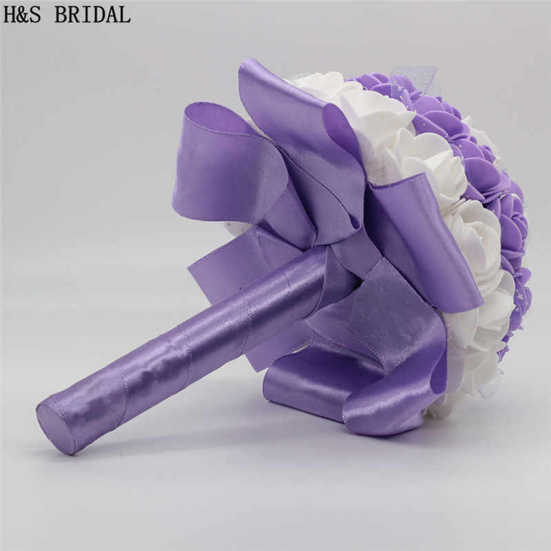H & S BRAUT 15 cm Elfenbein Weiß Hochzeit Blumen Braut Bouquets Künstliche Hochzeit Bouquets Rose buque de noiva