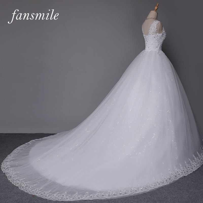 Fansmile cheap white double shoulder long train ball lace for White wedding dresses with long trains