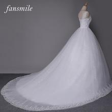 Fansmile Double Shoulder Long Train Lace Ball Wedding Dresses 2017 Bridal Dress Plus Size Customized Gowns Real Photo FSM-008T