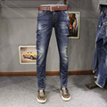 2017 Spring New Fashion Mens Stretch Denim Jeans Slim Fit Boot Cut Darked Wash Jeans Distressed Jeans Ripped Patchwork Pants 615