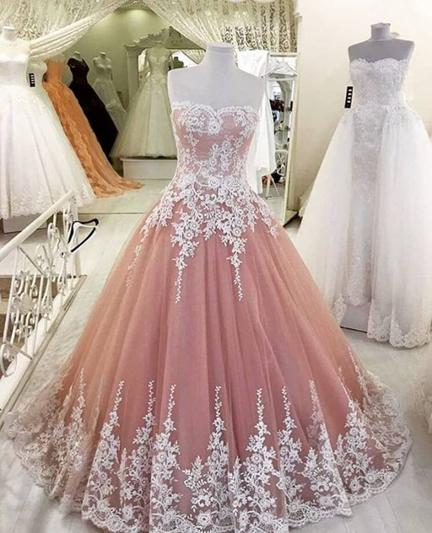 2016 Princess Blush Wedding Dresses Lace Appliques Sweetheart     2016 Princess Blush Wedding Dresses Lace Appliques Sweetheart Backless Bridal  Gown Vestido De Noiva Custom Made Tulle Jasmine in Wedding Dresses from