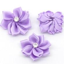 50Pcs Ribbon Purple Flowers 30mm Acrylic Rhinestone Wedding Party Decorative DIY Scrapbook Making