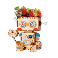 3D Wooden Cute Robot Flower Pot Creative Puzzle Game Toys Storage Box Penholder Toy Construction Kits Models for Children R21
