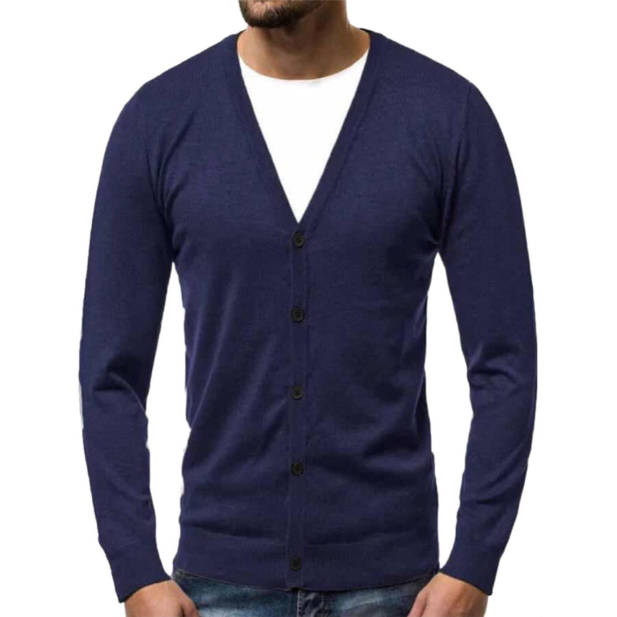 2019 Solid Comfy Knitted Sweater Men's Autumn Winter Warm Pullover Cardigan Button Blouse Tops Men Winter Sweater