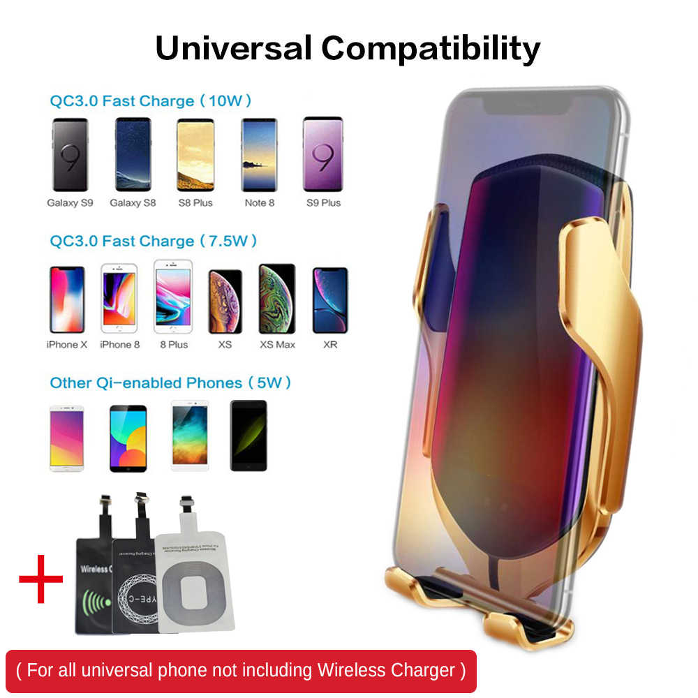 10 W bezprzewodowa ładowarka samochodowa S5 automatyczne mocowanie szybkie ładowanie telefonu uchwyt do montażu W samochodzie dla iPhone xr Huawei Samsung inteligentny telefon