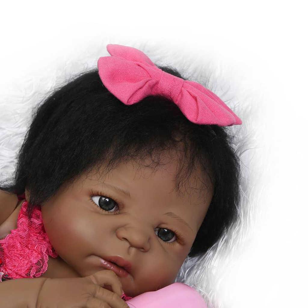 Дети День рождения Рождественский подарок-полный Силиконовый 22 дюймов Reborn baby girl Кукла афроамериканская кукла-черный тон кожи