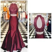 Lange Sparkly Prom Kleider 2016 Meerjungfrau High Neck Open Back Kristalle Bodenlangen Stretch Satin Burgund Zweiteiler Prom Kleid
