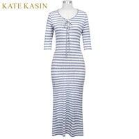 Kate Kasin Sexy Women Bodycon Striped Maxi Dress Vestidos Retro Vintage 3 4 Sleeve Women Lace