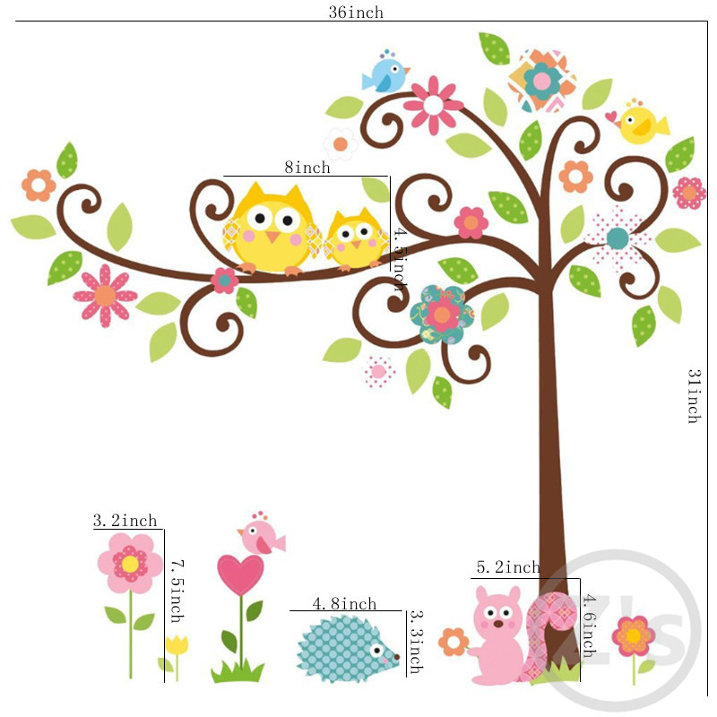 Aliexpress.com : Buy Owls Tree Wall Sticker Children Home Decor Cartoon Wall  Decal DIY for Kids Room Decal Baby Mural Nursery from Reliable wall decals  ...
