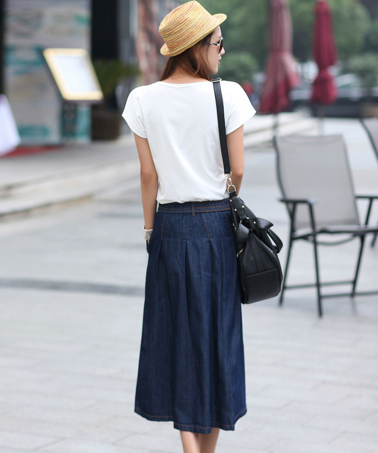 Summer New Loose Long Design Women Fashion A line Jean Skirt Lady ...