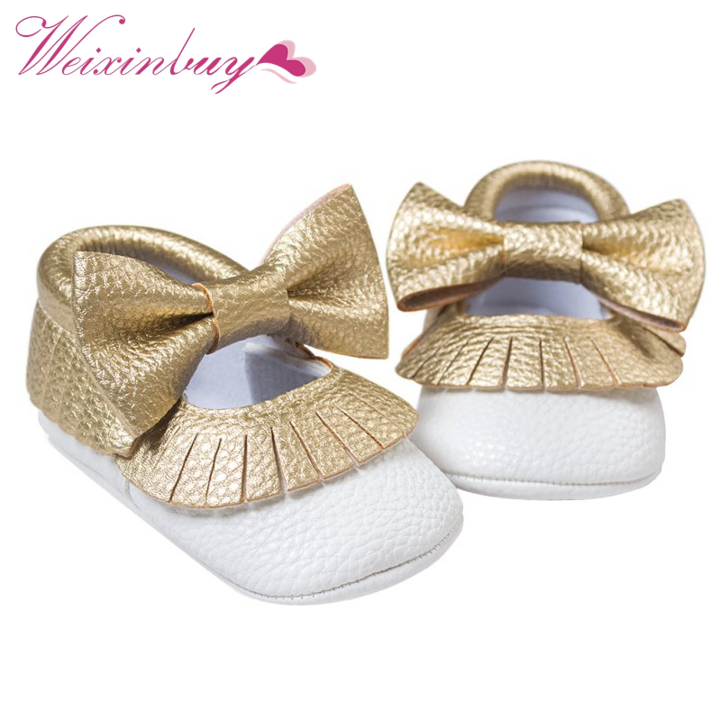 CuteBaby Gold Shoes Soft Sole Moccasin Newborn Babies PU Leather Slip-on First Walker