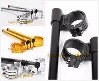 CNC 50mm Riser Clip Ons handlebars Lift handle bar Fork Tube One Pair Black/Gold/Silver Motorcycle Handbar Clip Ons Clipon