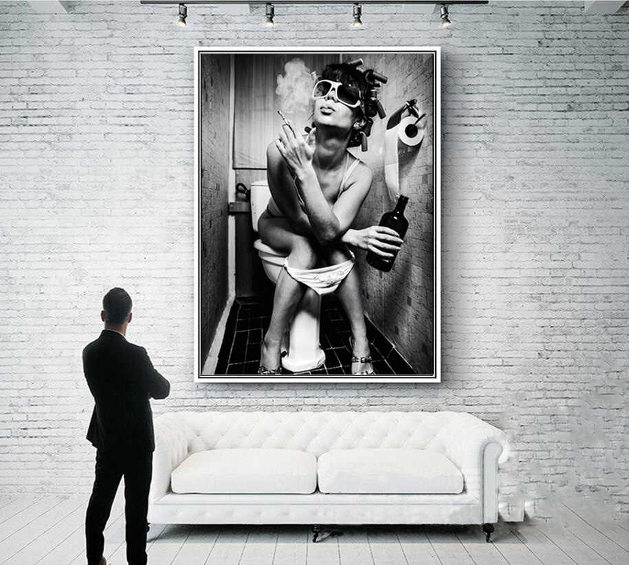 Black White Sexy Charming Woman Beauty Canvas Painting Toilet Pub Bar Home Decoration Art Poster Wall Pictures New Design