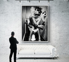 Black White Sexy Charming Woman Beauty Canvas Painting Toilet Pub Bar Home  Decoration Art Poster Wall