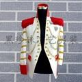 Branco dos homens gola de ouro bordado vermelho borlas jaqueta / dança / jazz / performance de palco na moda jaqueta