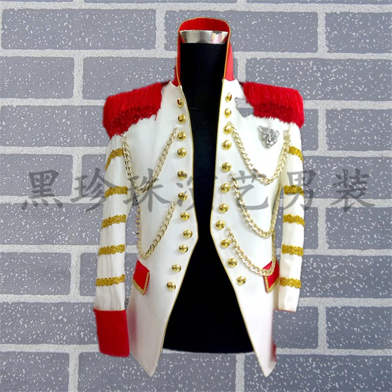 Mens white stand collar golden embroidery red tassels