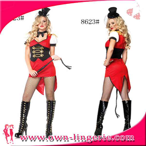 ADULT WOMENS LADY RED TUXEDO TAILCOAT CIRCUS SWEETIE RINGMASTER COSTUMES w1352